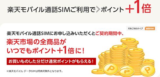 楽天モバイルの通話SIMを契約すると、SPU(スーパーポイントアッププログラム)により楽天市場の全商品がポイント+1倍