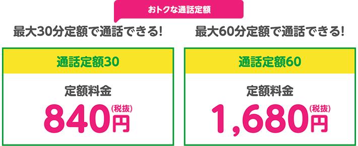 mineoの通話定額サービス「通話定額30/60」