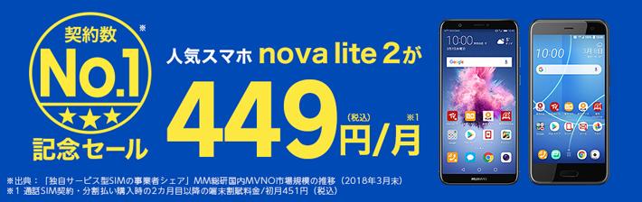 楽天モバイルがHUAWEI nova lite 2が月々449円(税込)で買えるキャンペーンを実施中