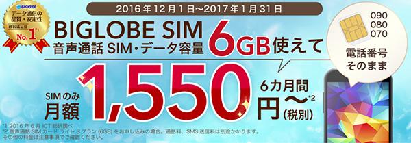 BIGLOBE 通話SIM 600円✕6カ月間値引きキャンペーン