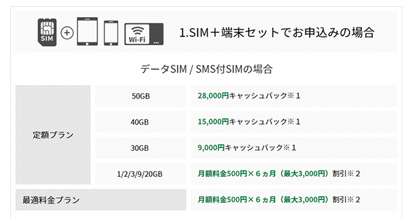 データSIM / SMS付データSIMの場合