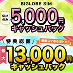 BIGLOBE SIMのキャッシュバックキャンペーン