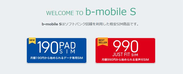 ソフトバンク回線サービス(b-mobile S)