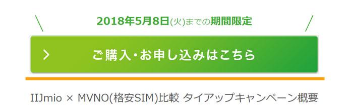 IIJmio公式のタイアップキャンペーンページ