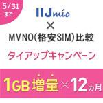 IJmio×MVNO(格安SIM)比較のタイアップキャンペーン