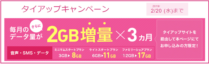 IIJmio×MVNO(格安SIM)比較のタイアップキャンペーン 2月